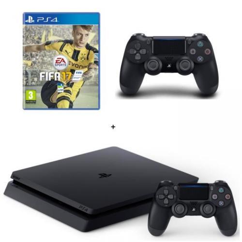 Nouvelle PS4 Slim Noire 500 Go   FIFA 17   2e Manette DualShock 4 Noire