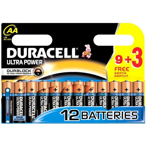 Piles Duracell Ultra Power LR06 AA Pack 9   3 Piles
