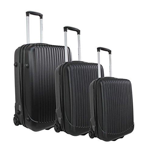 ZIFEL Set de 3 Valises Chariot Rigide ABS 2 Roues 60-50-40 cm PARAGUAY Noir