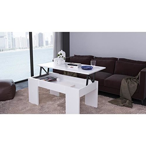 SWING Table basse transformable 100x50 cm - Blanc mat
