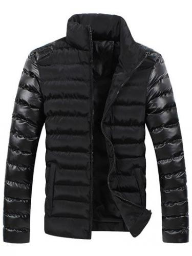 Zippered Long Sleeve Leather Spliced Stand Collar Down Coat For Men
