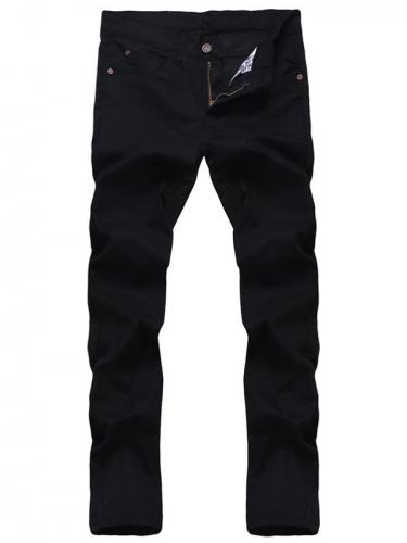 Zipper Fly Solid Color Straight Leg Jeans For Men