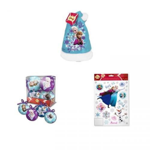 REINE DES NEIGES Lot de 4 boules de Noël 7,5 cm bleu et violet plus Bonnet 39 cm bleu plus Stickers électrostatique 30x20 cm blanc