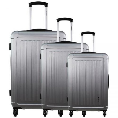 ZIFEL Set de 3 Valises Rigide ABS 4 Roues 51-61-71cm VANCOUVER Silver