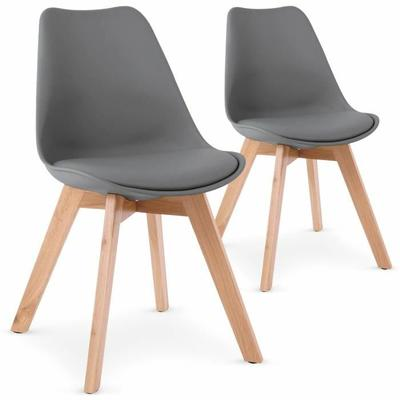Lot de 2 chaises style scandinave Bovary Gris