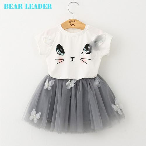 Ensemble Chaton Imprimé T-Shirts    Robe