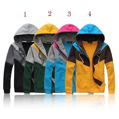 Fashion Sport Hoody Hat Jacket Contrast Colour Coat Apparel
