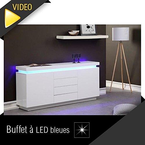 FLASH Buffet 175cm blanc laqué avec led bleue