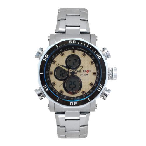 Helbros Silver Ana-Digi Stainless Steel Bracelet Men's Sport Watch