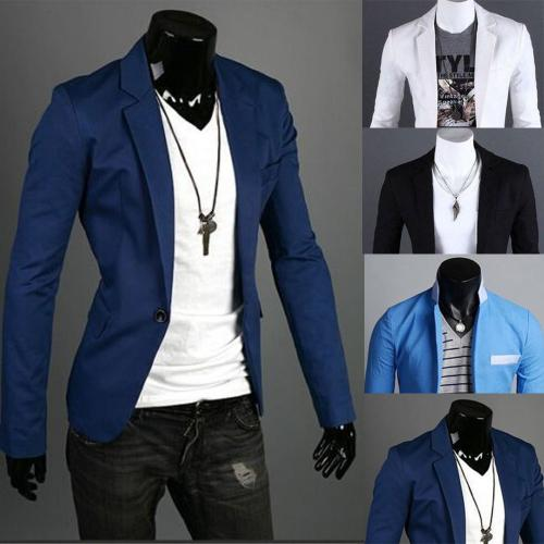 Charm Men's Casual Slim Fit One Button Suit Blazer Coat Jacket Tops Men Fashion