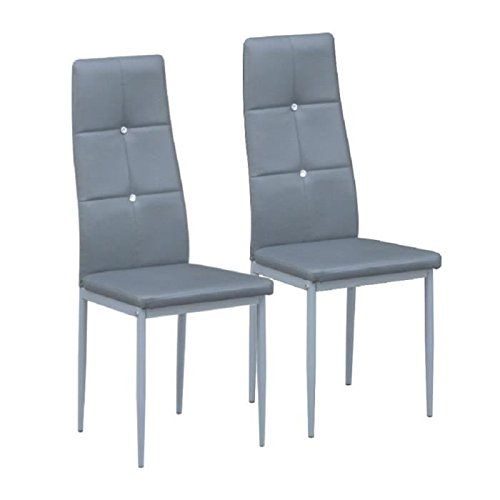 DIAMOND Lot de 2 chaises - 42x50x105 cm - Gris
