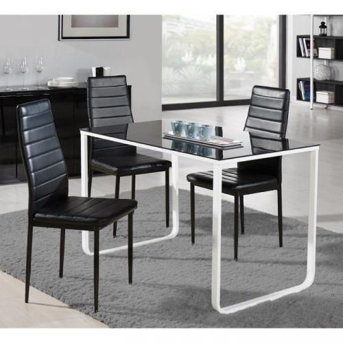 PROFIL Table à mangeren métal et verre trempé 4 personnes 120x70 cm - Noir et blanc