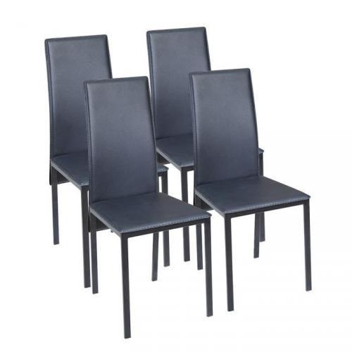 ELISA Lot de 4 Chaises de salle à manger en simili - Noir