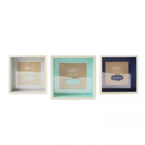 Lot de 3 cadres photos 10x10 cm gris et bleu