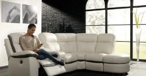 Concept-Usine Monica : canapé dangle en cuir PU blanc 5 places relax électrique