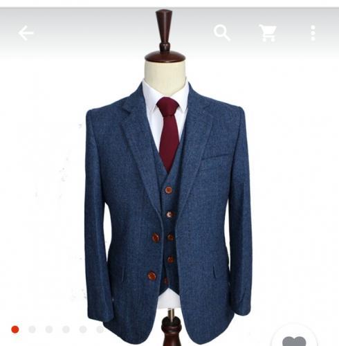 Laine bleu chevrons rétro gentleman style custom made hommes costumes sur mesure costume Blazer costumes pour hommes 3 peça ( veste   pantalon   veste )