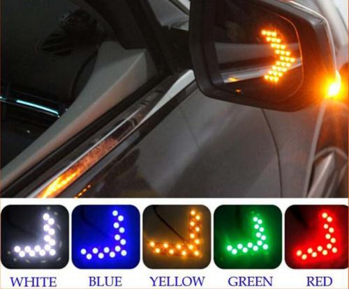 Top Fashion 2 PCS 14 SMD LED Arrow Panel For Car Rear View Mirror Indicator Turn Signal Light Four Colors