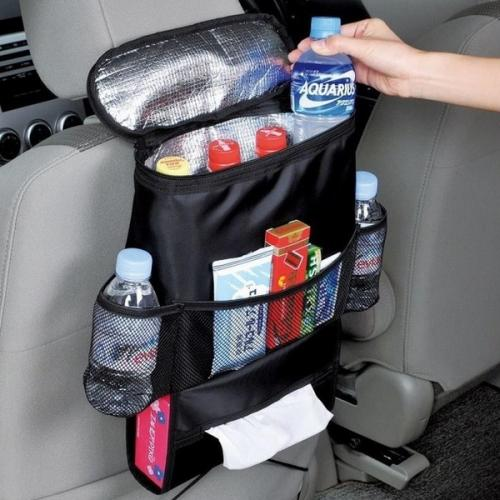 Car Backseat Organizer Storage Cooler Bag Mommy Diaper Auto Wrap Bottle Bag Resistant With Front Mesh Pocket Drink Holder & Tissue Holder
