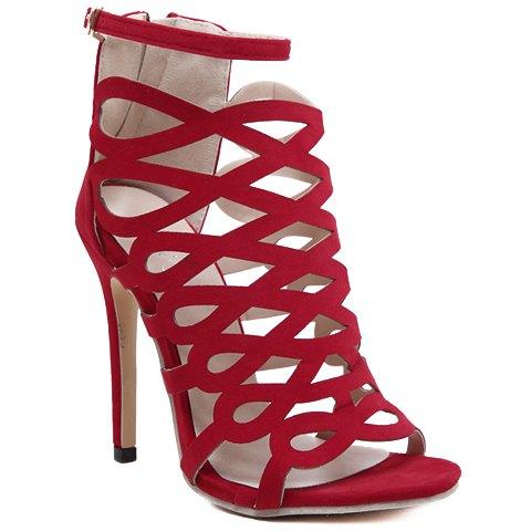 Trendy évider et Flock design Sandales pour les femmes