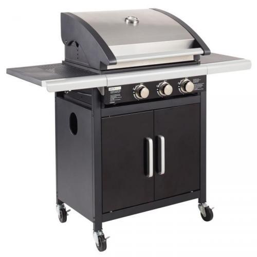 GRILL GARDEN Barbecue américain à gaz 3 brûleurs - Acier émaillé - 123x54x113 cm - Noir et gris