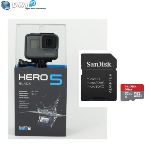 NEUF GOPRO HD HERO 5 HERO5 BLACK EDITION ACTION CAMERA   32GB MICRO