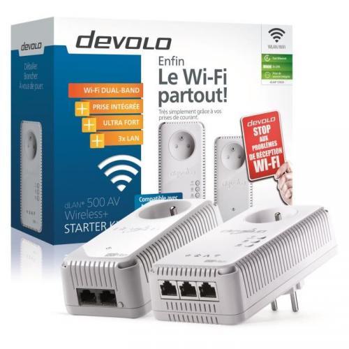 Devolo dLAN 500 AV Wireless  CPL Wi-Fi 500 Mbit/s - 3 ports Fast Ethernet - Prise Intégrée - Kit de démarrage (x2)