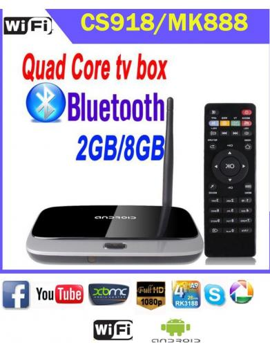 Q7 CS918 New MK888 (K-R42/CS918) Android 4.2 TV Box RK3188 Quad Core Mini PC RJ-45 USB Bluetooth Full HD Multi Media Player