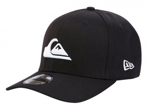 Quiksilver Men's M/L New Era 39Thirty Mountain and Wave Hat Cap - Black