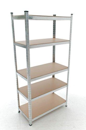 CLP galvanisé Etagère pour stockage BIG métalliques avec une capacité de charge de 1325 kg, dimensions: 180x90x45 cm, 5 tablettes Argent