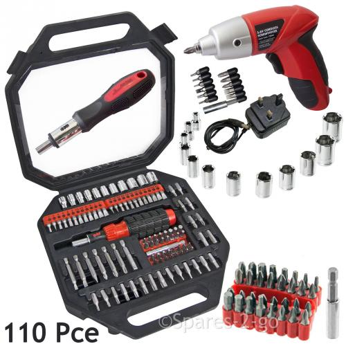 110 Pce Screwdriver Bits Socket Set & Rechargeable Cordless Electric Driver Tool
