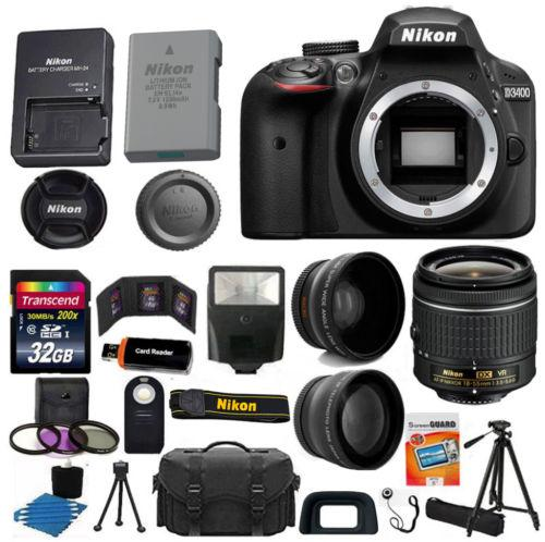 Nikon D3400 Digital SLR Camera 3 Lens Kit 18-55 VR Lens   32GB Best Value Bundle