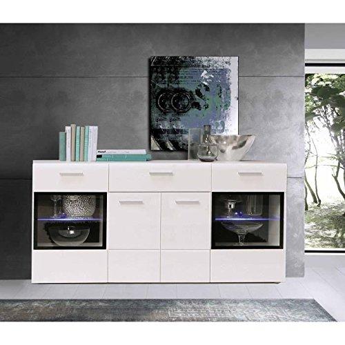 slate buffet blanc brillant 170cm led prix 199 99. Black Bedroom Furniture Sets. Home Design Ideas