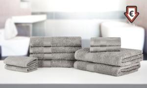 Déstockage - 10 serviettes grise en coton égyptien