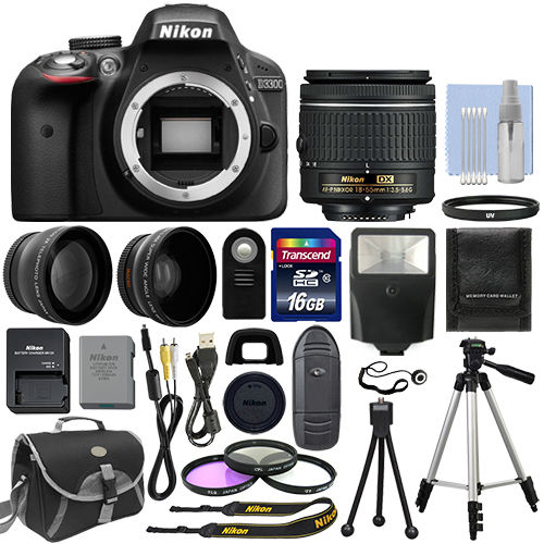 Nikon D3300 Digital SLR Camera Black   3 Lens: 18-55mm Lens   16GB Bundle