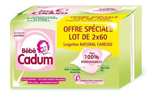 Bébé Cadum Hygiène et Soin Bébé Lingettes Natural Caresse 2 x 60 Lot de 3