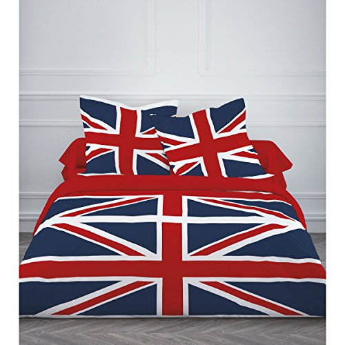 parure de lit 4 pi ces drapeau uk union jack anglais housse de couette double 2 personnes. Black Bedroom Furniture Sets. Home Design Ideas