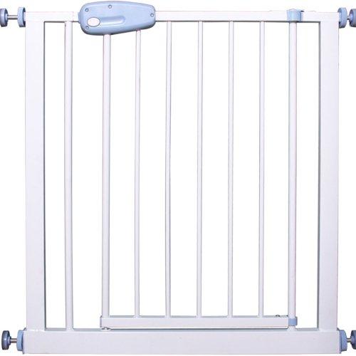 Barrière de sécurité enfant acier laqué blanc - 74 à 87cm - s'ouvre dans les 2 sens
