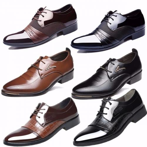 Men Business Dress Formal Leather Shoes Flat Oxfords Lace Up Pointy Toe Loafers