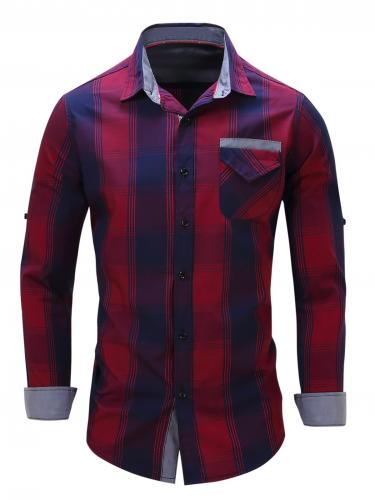 Long Sleeve Plaid Shirt with Flap Pocket