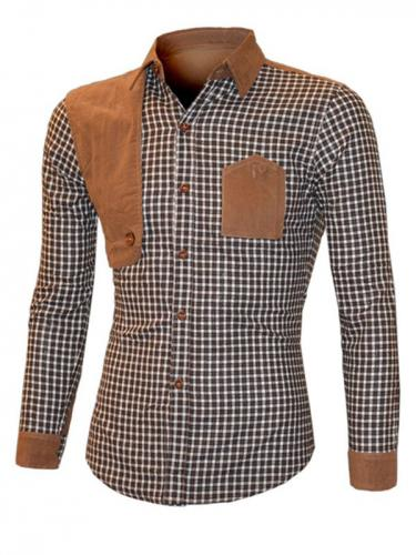 Suede Splicing Plaid Turn-Down Collar Long Sleeve Men's Shirt