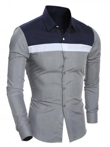 Turn-Down Collar Color Block Splicing Shirt