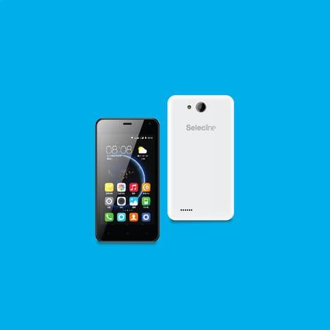SELECLINE Smartphone - Boost - Blanc Ecran 4 pouces - Processeur SC7731C Quad Core - Mémoire 8 Go - Appareil photo 2 Mpixels - WiFi - Bluetooth