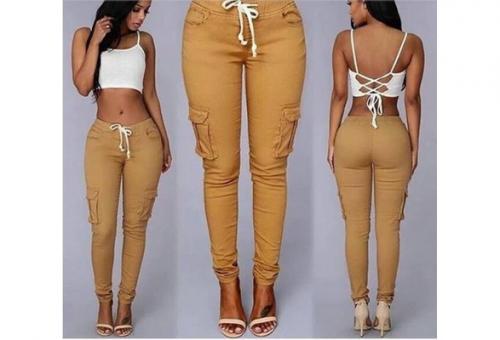 Women Fashion Low Waist Lace Up Casual Pencil Pants
