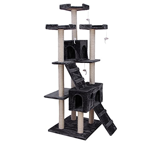 Songmics Arbre à chat griffoir niches 180cm Gris PCT53G