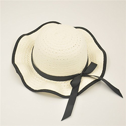 LQABW Chapeau De Soleil Printemps Eté Vague De Proue De Plage Chapeau De Paille Chapeau Outdoor Big Eaves Femme,White