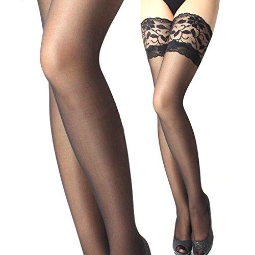 Ukamshop Femmes sexy en dentelle Top bande de silicone Cuissardes Bas Collant (noir)