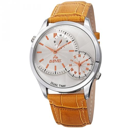 August Steiner AS8010SSTN Multifunction Leather Watch