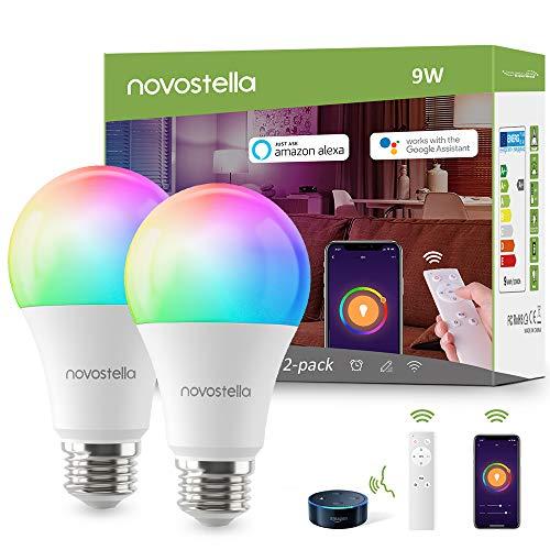 Ampoule LED Intelligente WiFi E27 RGBCW Blanc Chaud/Froid (2700K-6000K) avec IR Télécommande, Novostella Lampe Connectée 9W à Intensité Variable et Multicolore Compatible Avec Alexa Google Home,2 Pack