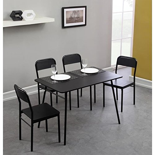 rapido ensemble repas table chaises 110cm noir prix 129 99. Black Bedroom Furniture Sets. Home Design Ideas
