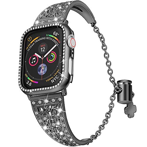 Jwacct Bracelet réglable en Acier Inoxydable avec Protecteur d'écran pour Apple Watch 38 mm 40 mm iWatch Series 4/3/2/1 pour Femme avec étui en Strass, Noir, 38 mm